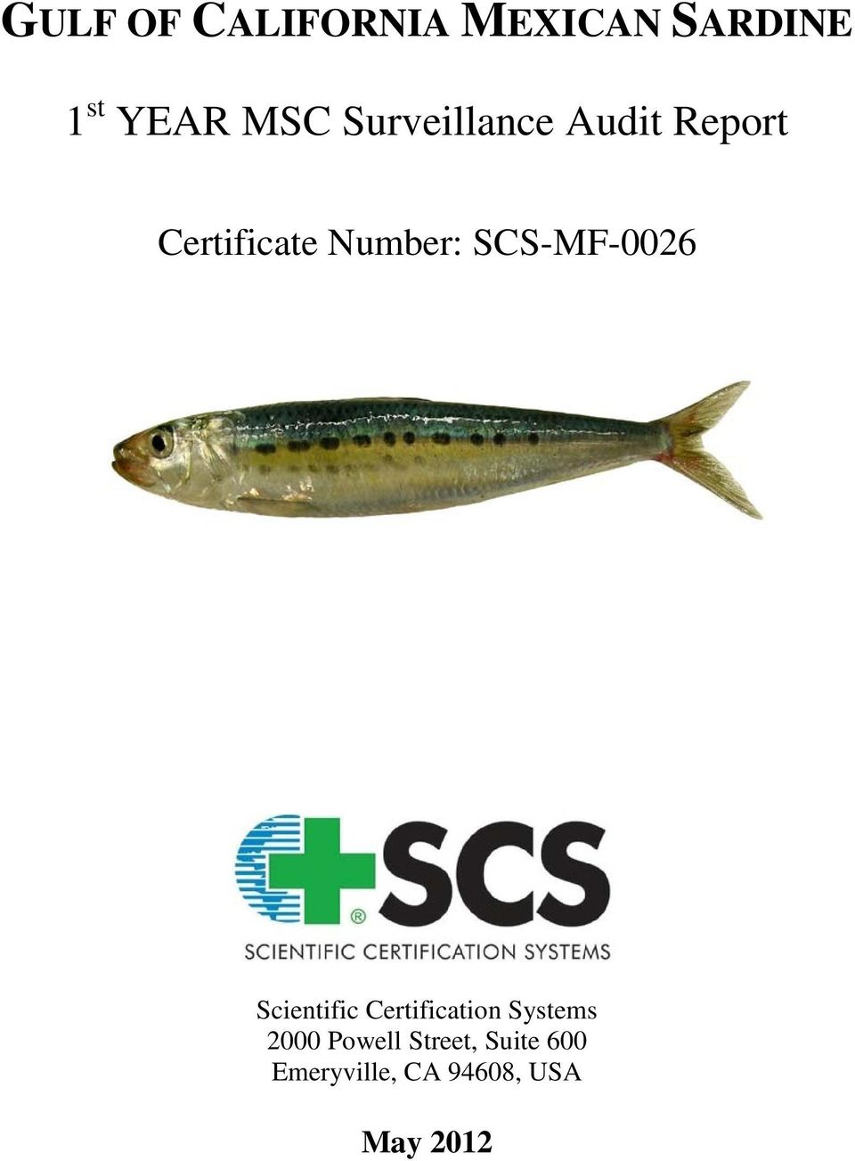 SCS-MF-0026 Scientific Certification Systems 2000