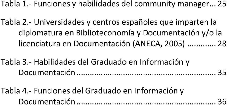 Documentación y/o la licenciatura en Documentación (ANECA, 2005)... 28 Tabla 3.