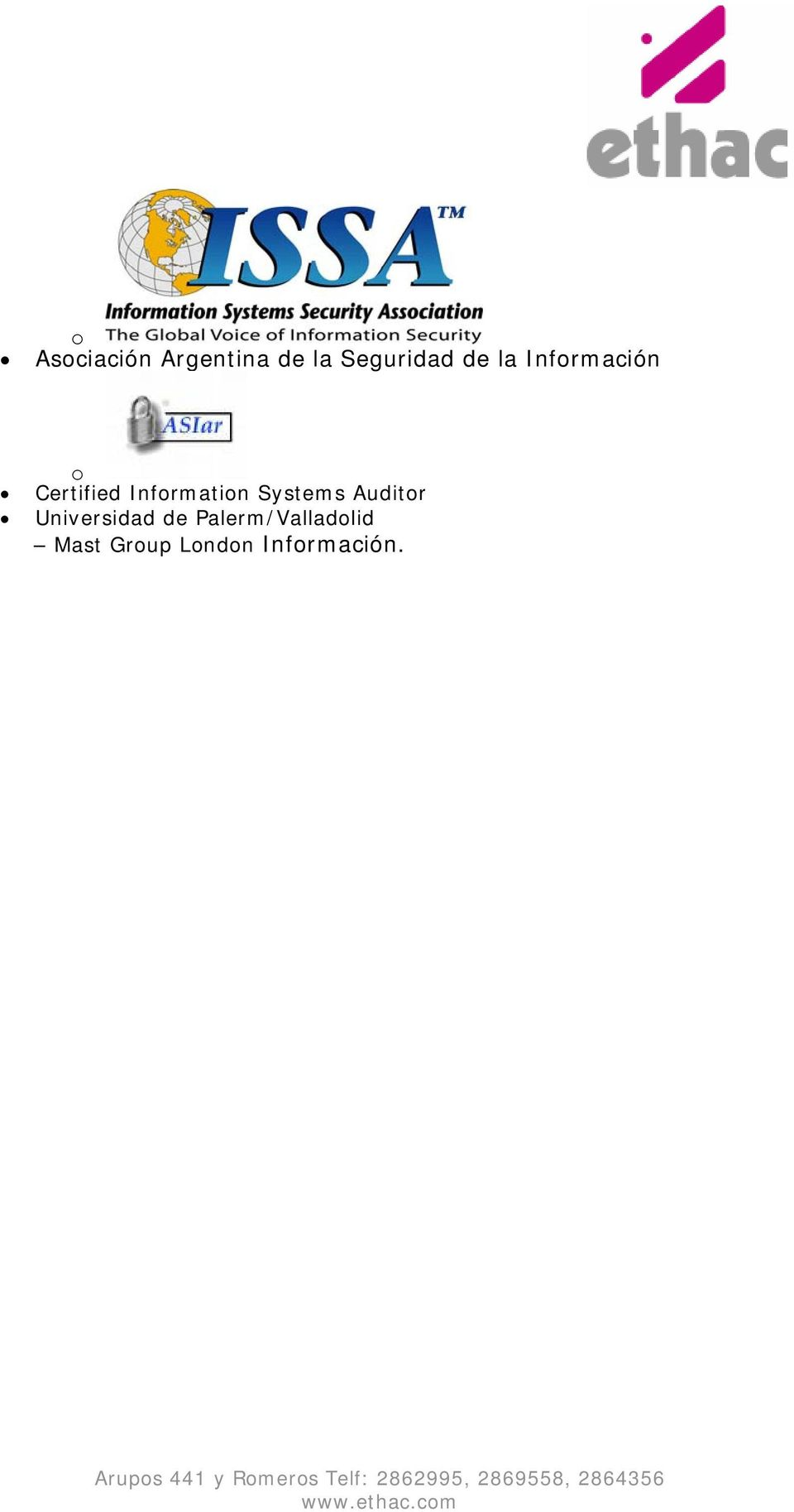 Information Systems Auditor Universidad