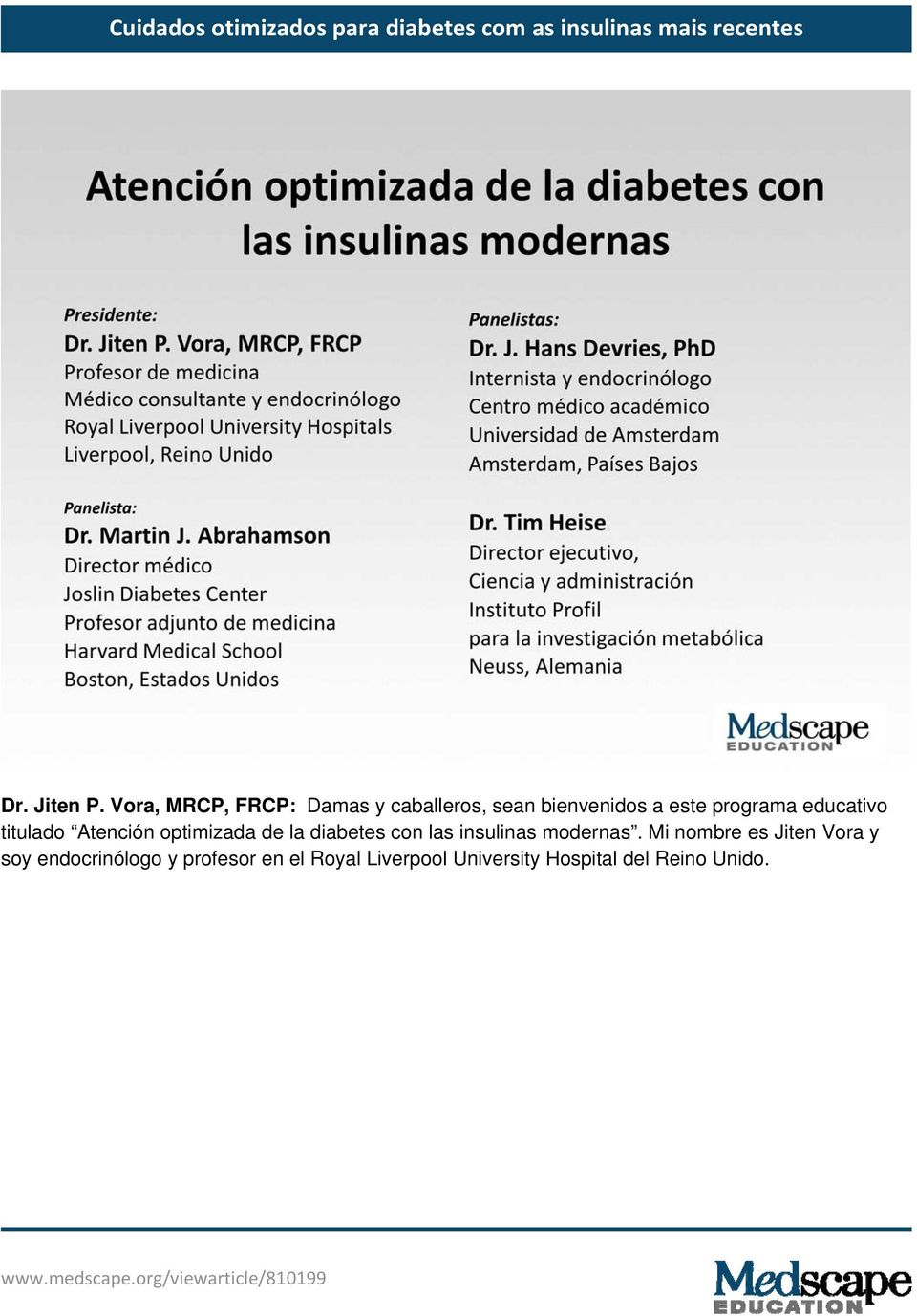 programa educativo titulado Atención optimizada de la diabetes con