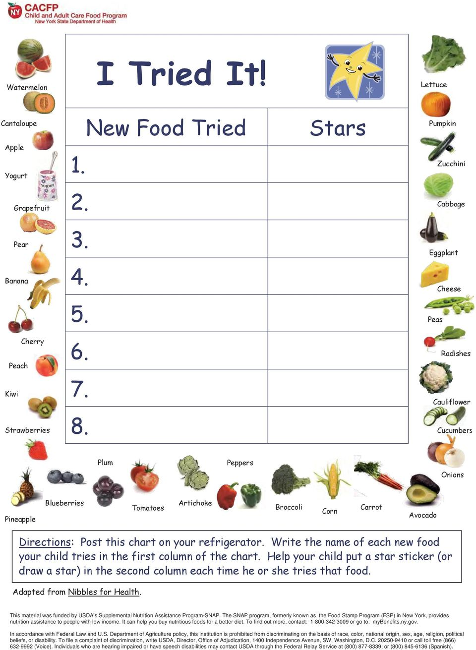 Write the name of each new food your child tries in the first column of the chart. Help your child put a star sticker (or draw a star) in the second column each time he or she tries that food.