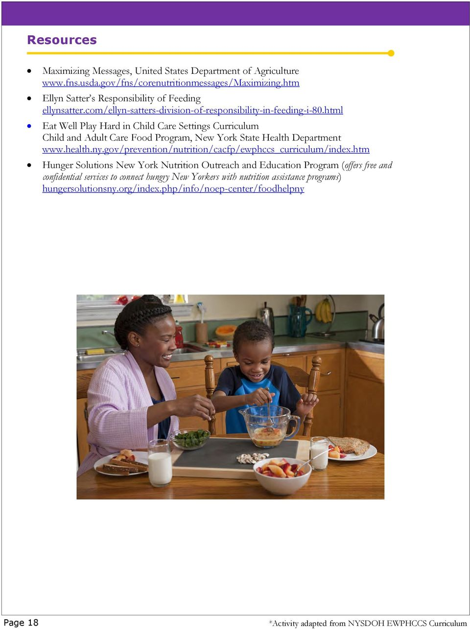 html Eat Well Play Hard in Child Care Settings Curriculum Child and Adult Care Food Program, New York State Health Department www.health.ny.
