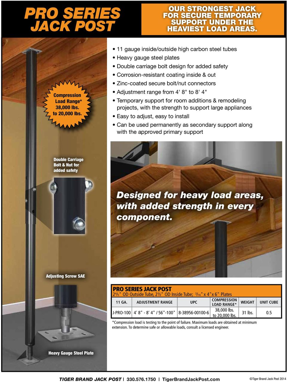 "Adjustment range from 4' 8"" to 8' 4"" Temporary support for room additions & remodeling projects, with the strength to support large appliances Easy to adjust, easy to install Can be used permanently"