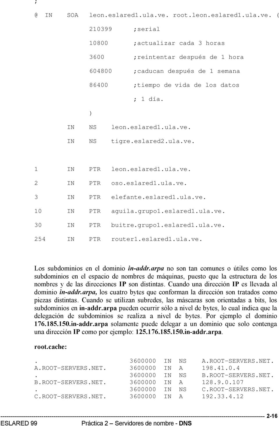 grupo1.eslared1.ula.ve. 254 IN PTR router1.eslared1.ula.ve. Los subdominios en el dominio in-addr.