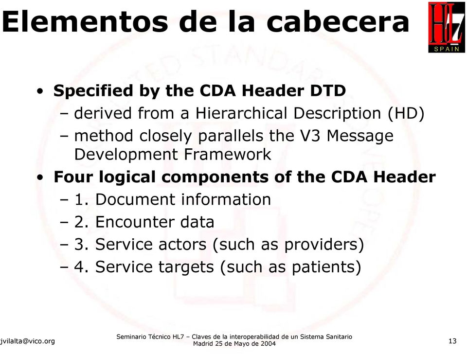 logical components of the CDA Header 1. Document information 2. Encounter data 3.