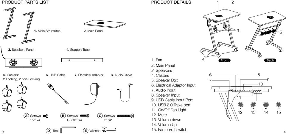 Audio Cable D Tool B Screws 1-3/16 x E Wrench C Screws 2 x2 1. Fan 2. Main Panel 3. Speakers. Casters 5. Speaker Box 6.