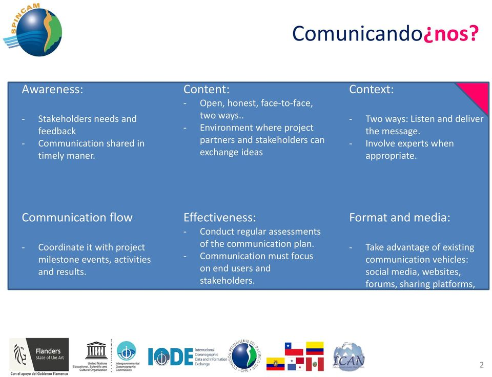 Communication flow - Coordinate it with project milestone events, activities and results. Effectiveness: - Conduct regular assessments of the communication plan.