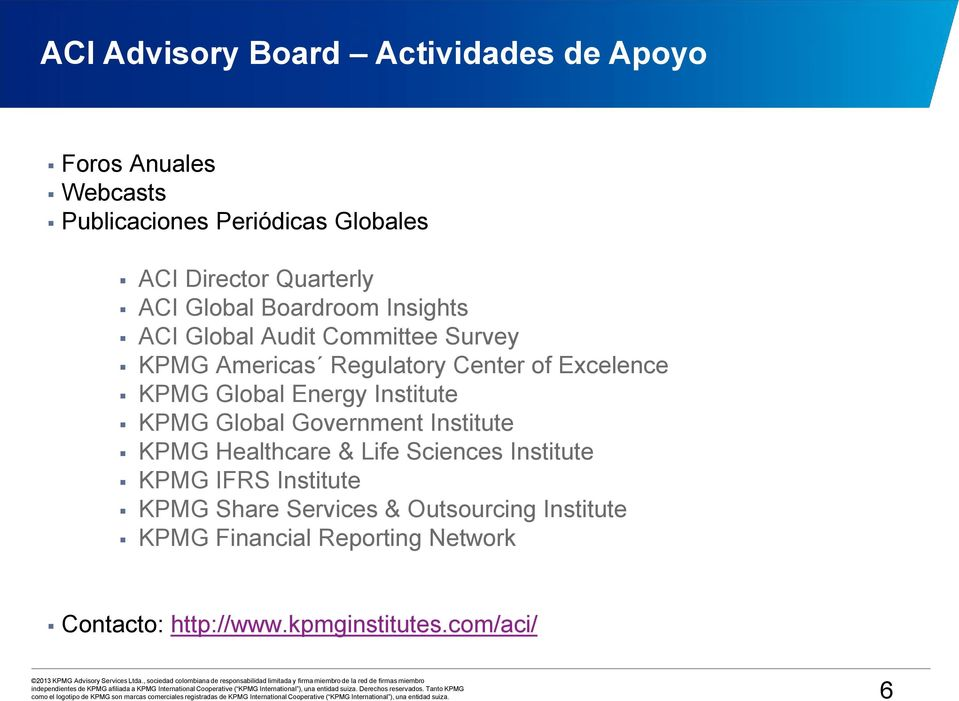 KPMG Global Energy Institute KPMG Global Government Institute KPMG Healthcare & Life Sciences Institute KPMG IFRS