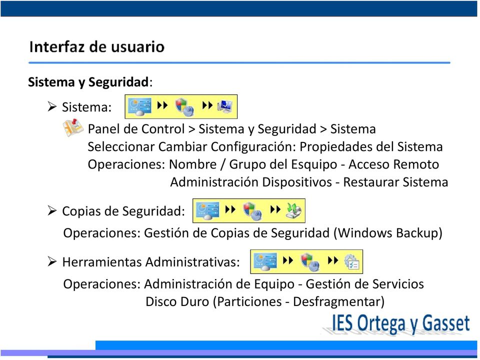 Restaurar Sistema Copias de Seguridad: Operaciones: Gestión de Copias de Seguridad (Windows Backup) Herramientas
