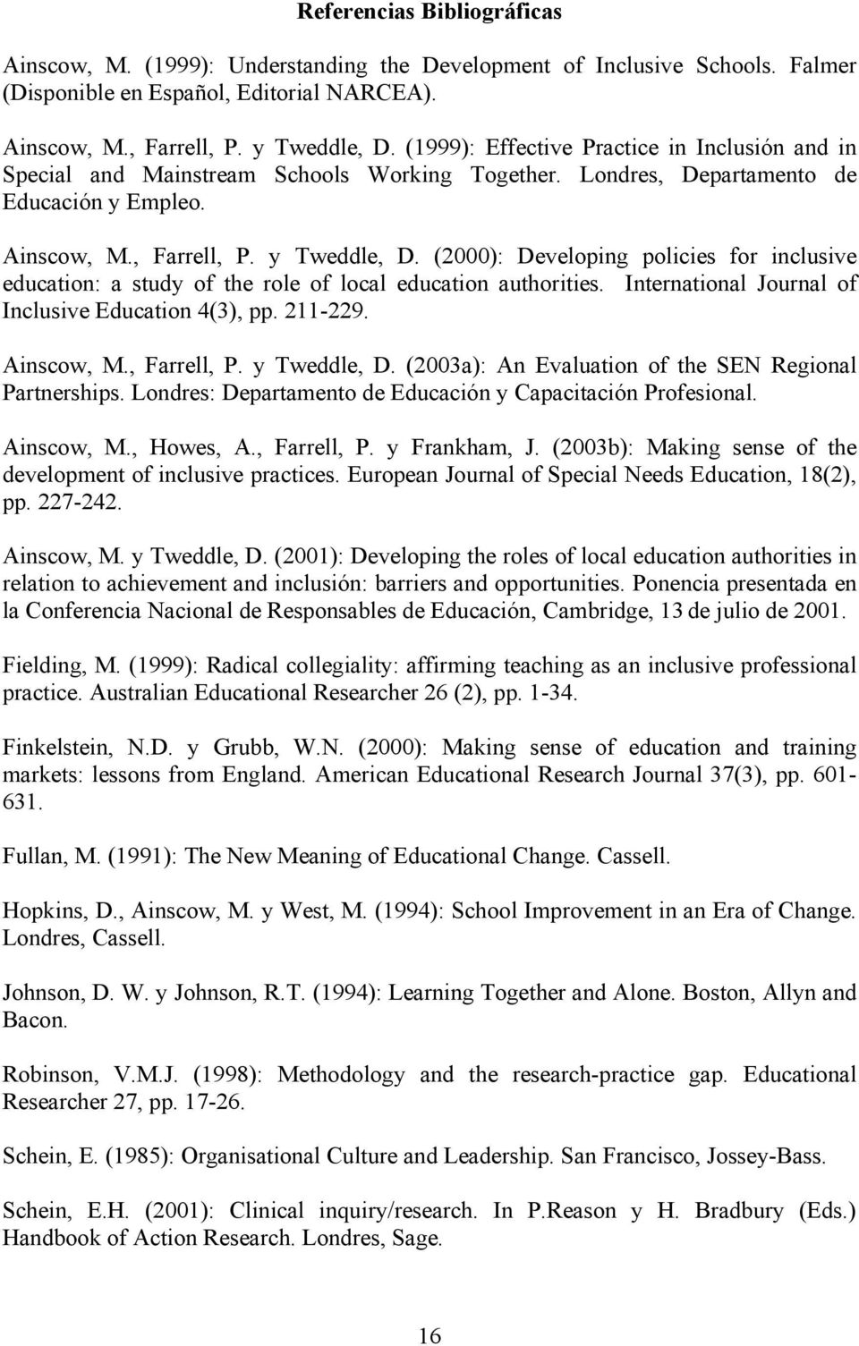 (2000): Developing policies for inclusive education: a study of the role of local education authorities. International Journal of Inclusive Education 4(3), pp. 211-229. Ainscow, M., Farrell, P.