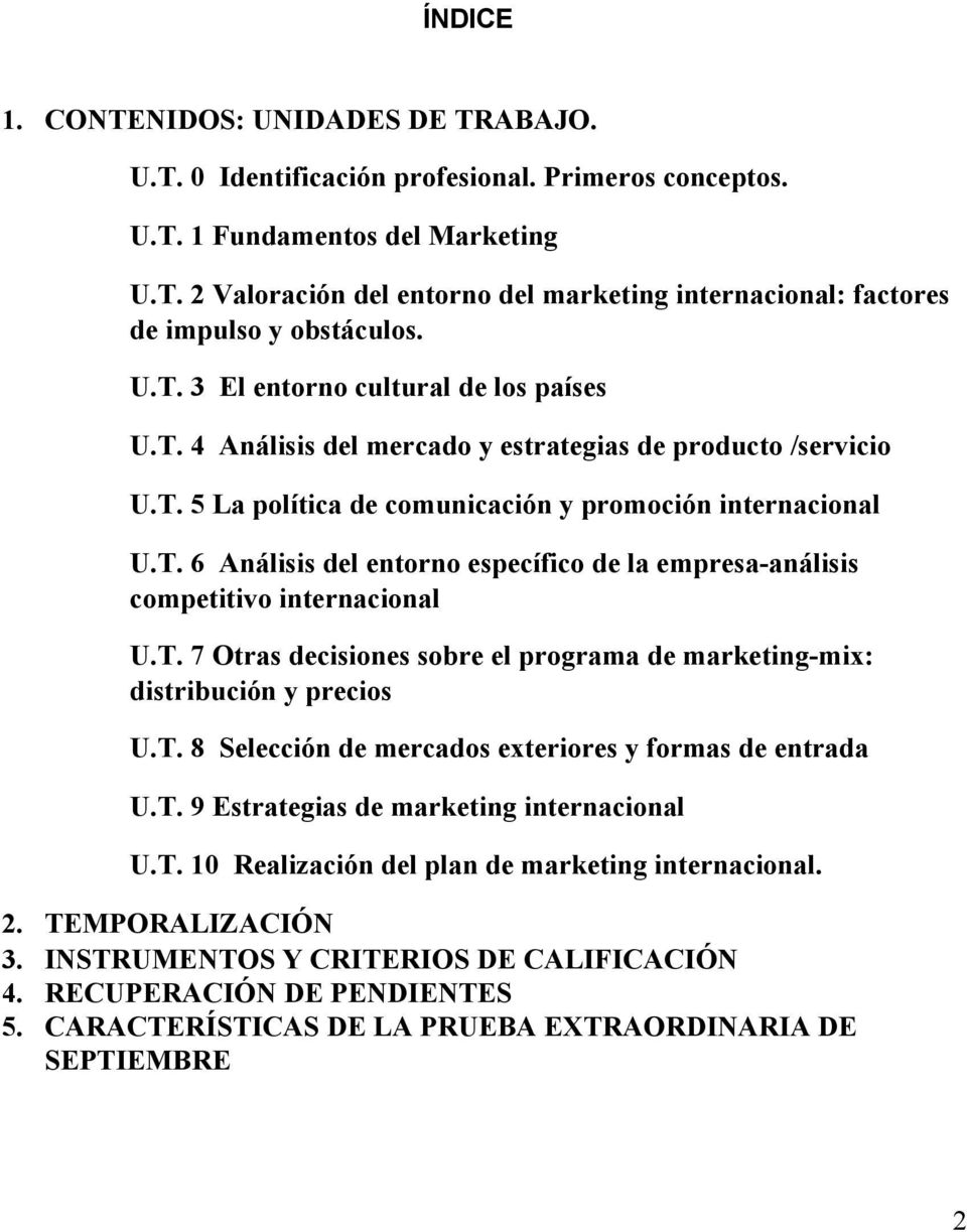 T. 7 Otras decisiones sobre el programa de marketing mix: distribución y precios U.T. 8 Selección de mercados exteriores y formas de entrada U.T. 9 Estrategias de marketing internacional U.T. 10 Realización del plan de marketing internacional.