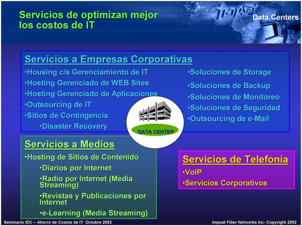 Diarios por Internet Radio por Internet (Media Streaming) Revistas y Publicaciones por Internet e-learning (Media Streaming) DATA CENTER Soluciones