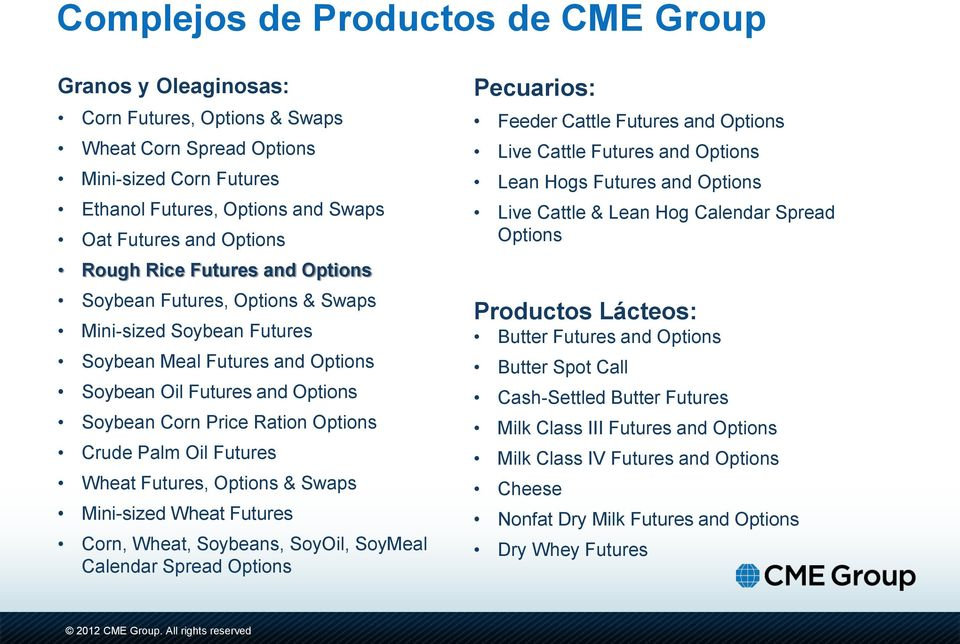 Palm Oil Futures Wheat Futures, Options & Swaps Mini-sized Wheat Futures Corn, Wheat, Soybeans, SoyOil, SoyMeal Calendar Spread Options Pecuarios: Feeder Cattle Futures and Options Live Cattle