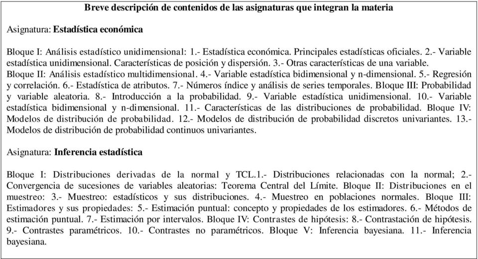 Bloque II: Análisis estadístico multidimensional. 4.- Variable estadística bidimensional y n-dimensional. 5.- Regresión y correlación. 6.- Estadística de atributos. 7.