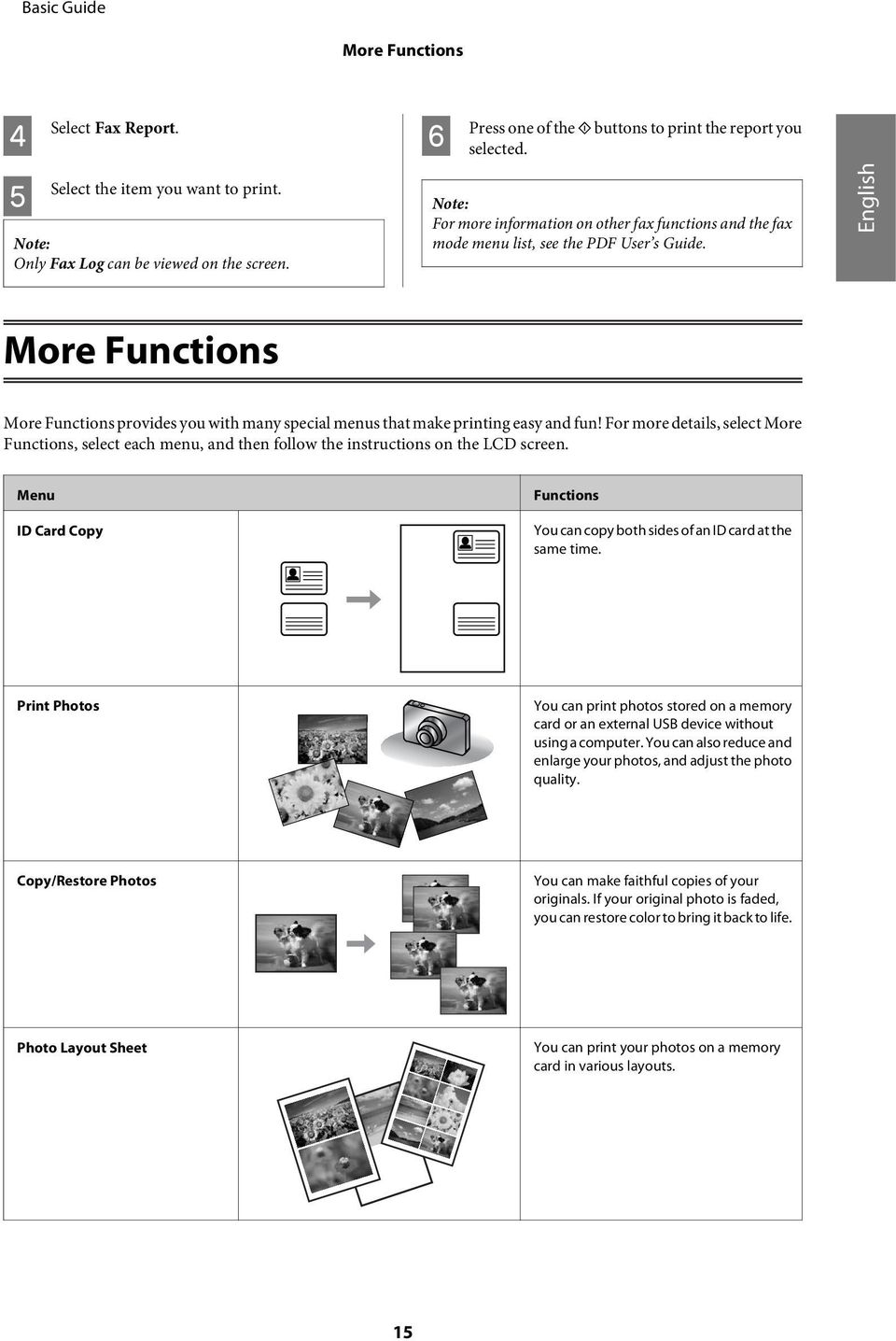 English More Functions More Functions provides you with many special menus that make printing easy and fun!