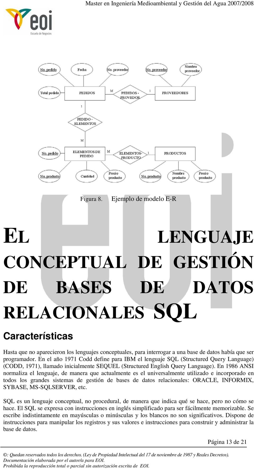 ser prgramadr. En el añ 1971 Cdd define para IBM el lenguaje SQL (Structured Query Language) (CODD, 1971), llamad inicialmente SEQUEL (Structured English Query Language).