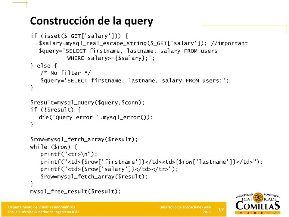 $result=mysql_query($query,$conn); if (!$result) { die('query error '.