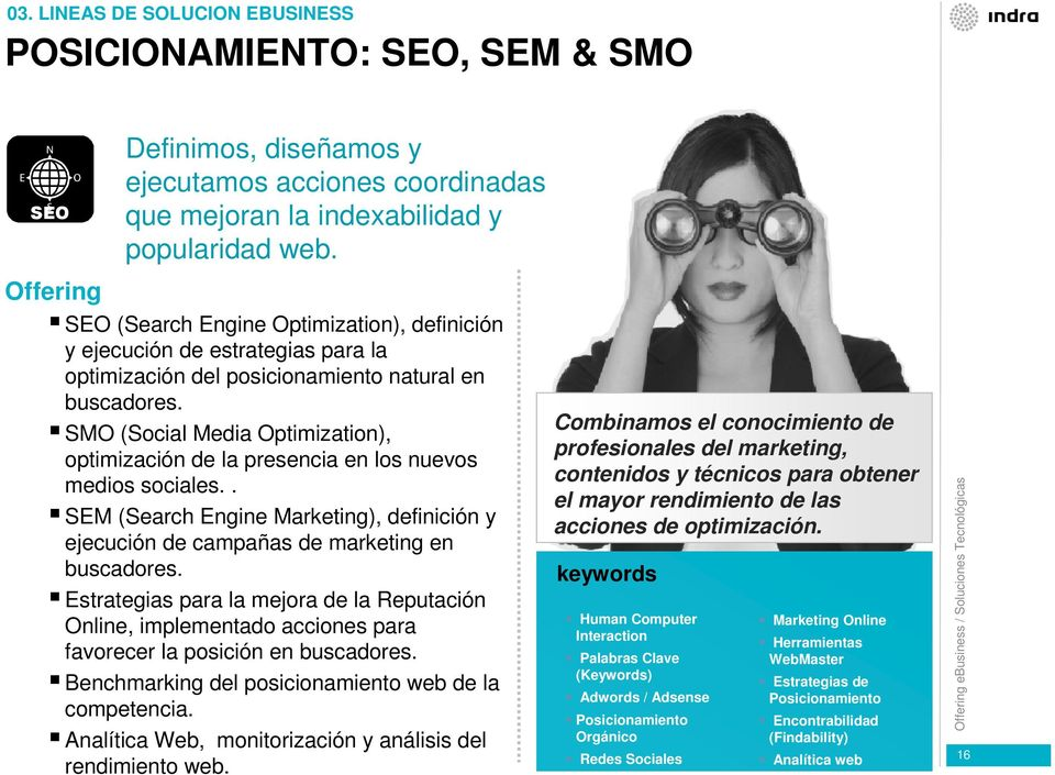 SMO (Social Media Optimization), optimización de la presencia en los nuevos medios sociales.. SEM (Search Engine Marketing), definición y ejecución de campañas de marketing en buscadores.