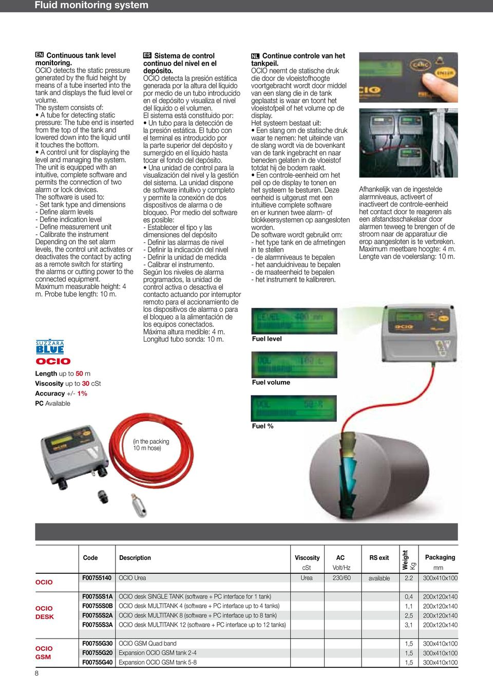 voortgebracht wordt door middel tank and displays the fluid level or por medio de un tubo introducido van een slang die in de tank volume.
