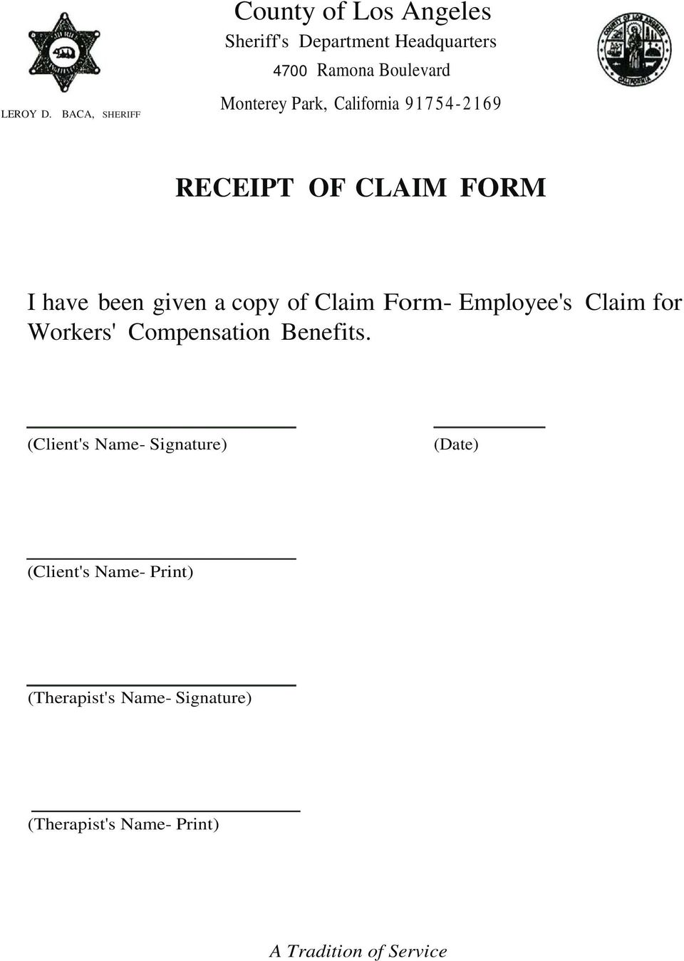 copy of Claim Form- Employee's Claim for Workers' Compensation Benefits.