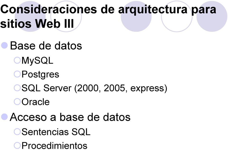 Server (2000, 2005, express) Oracle Acceso