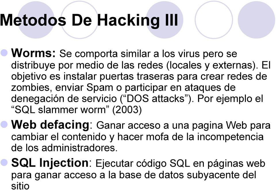DOS attacks ).