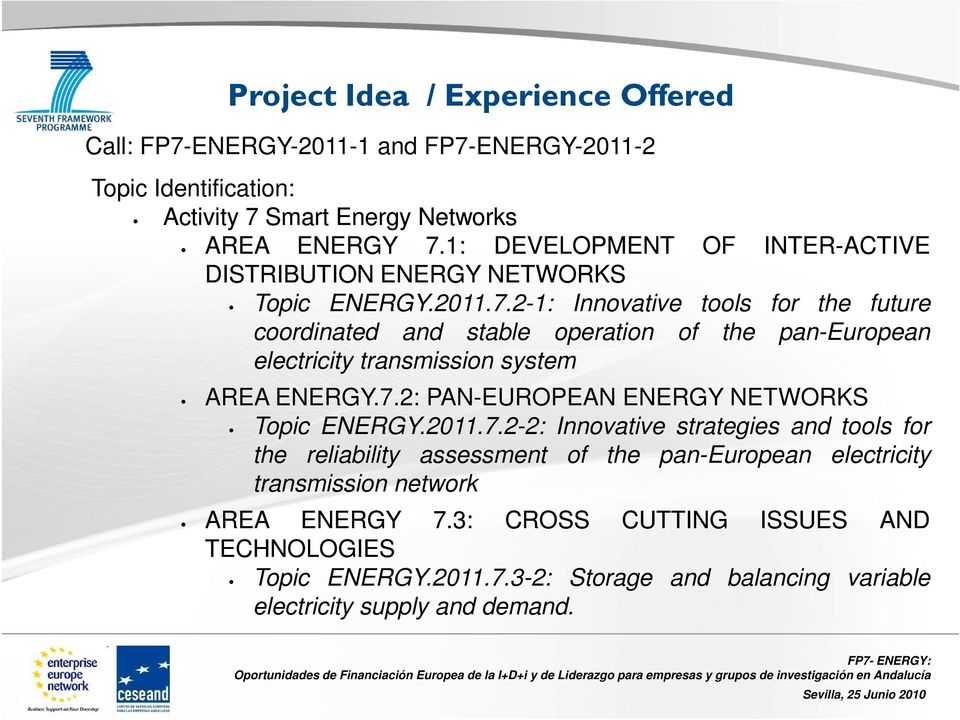 2-1: Innovative tools for the future coordinated and stable operation of the pan-european electricity transmission system AREA ENERGY.7.