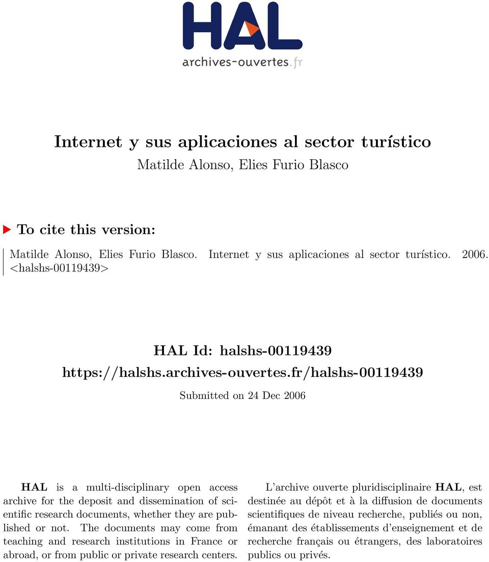 fr/halshs-00119439 Submitted on 24 Dec 2006 HAL is a multi-disciplinary open access archive for the deposit and dissemination of scientific research documents, whether they are published or not.