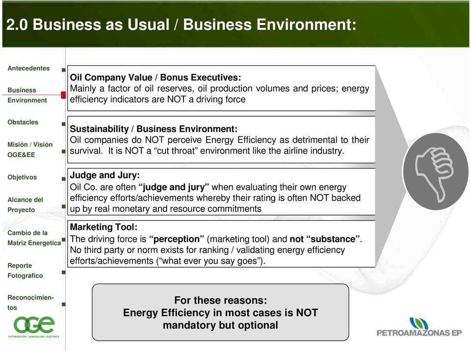are often judge and jury when evaluating their own energy efficiency efforts/achievements whereby their rating is often NOT backed up by real monetary and resource commitments Marketing Tool: The