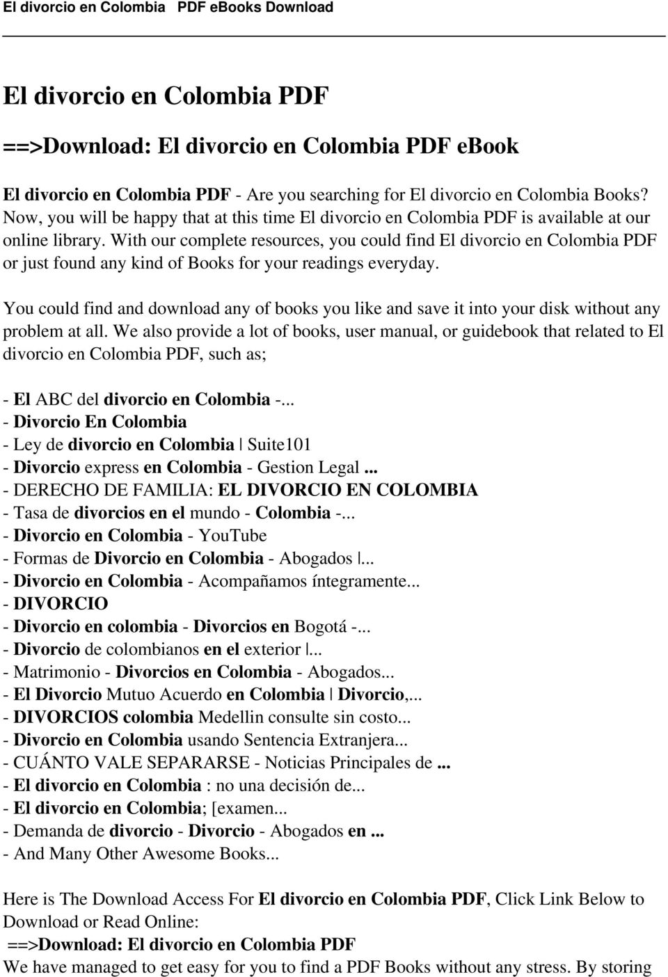 With our complete resources, you could find El divorcio en Colombia PDF or just found any kind of Books for your readings everyday.
