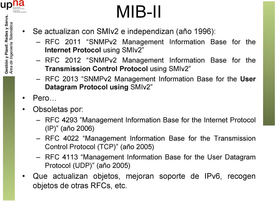 por: RFC 4293 Management Information Base for the Internet Protocol (IP) (año 2006) RFC 4022 Management Information Base for the Transmission Control Protocol (TCP) (año