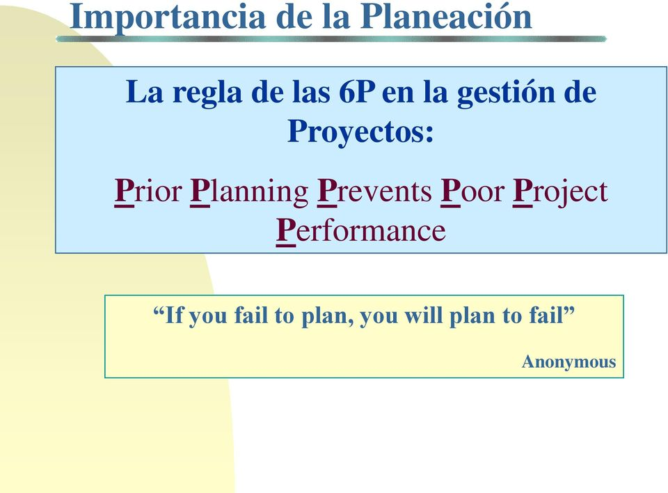 Planning Prevents Poor Project Performance