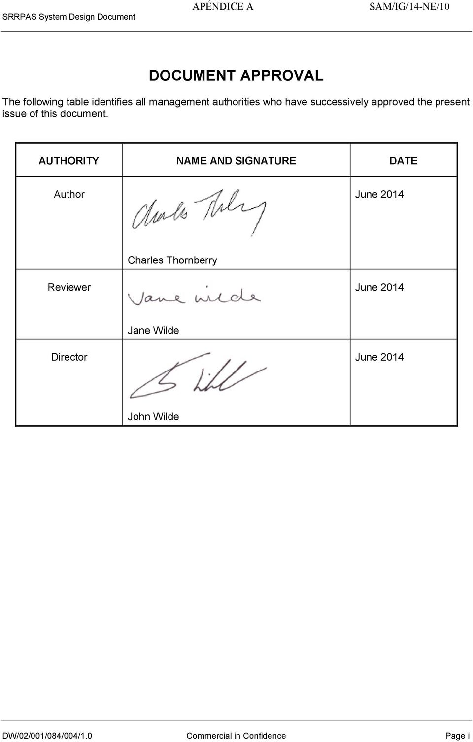AUTHORITY NAME AND SIGNATURE DATE Author June 2014 Charles Thornberry Reviewer June 2014