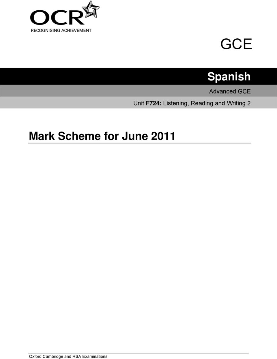 Writing 2 Mark Scheme for June