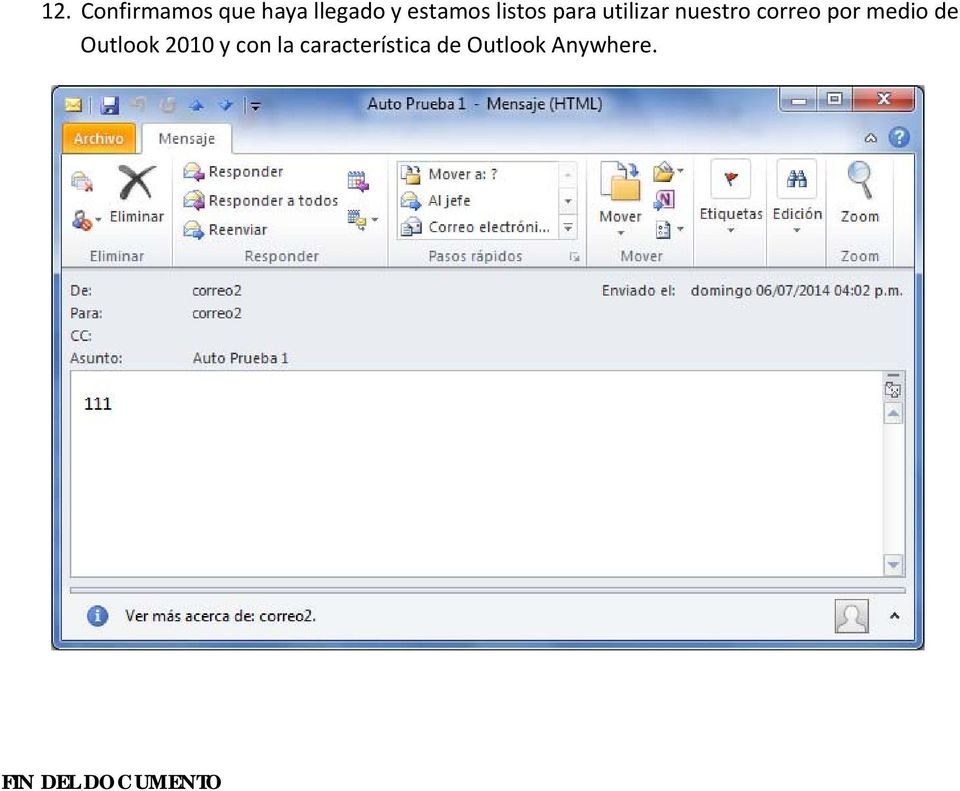 correo por medio de Outlook 2010 y con la