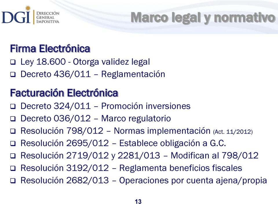 inversiones Decreto 036/012 Marco regulatorio Marco legal y normativo Resolución 798/012 Normas implementación (Act.