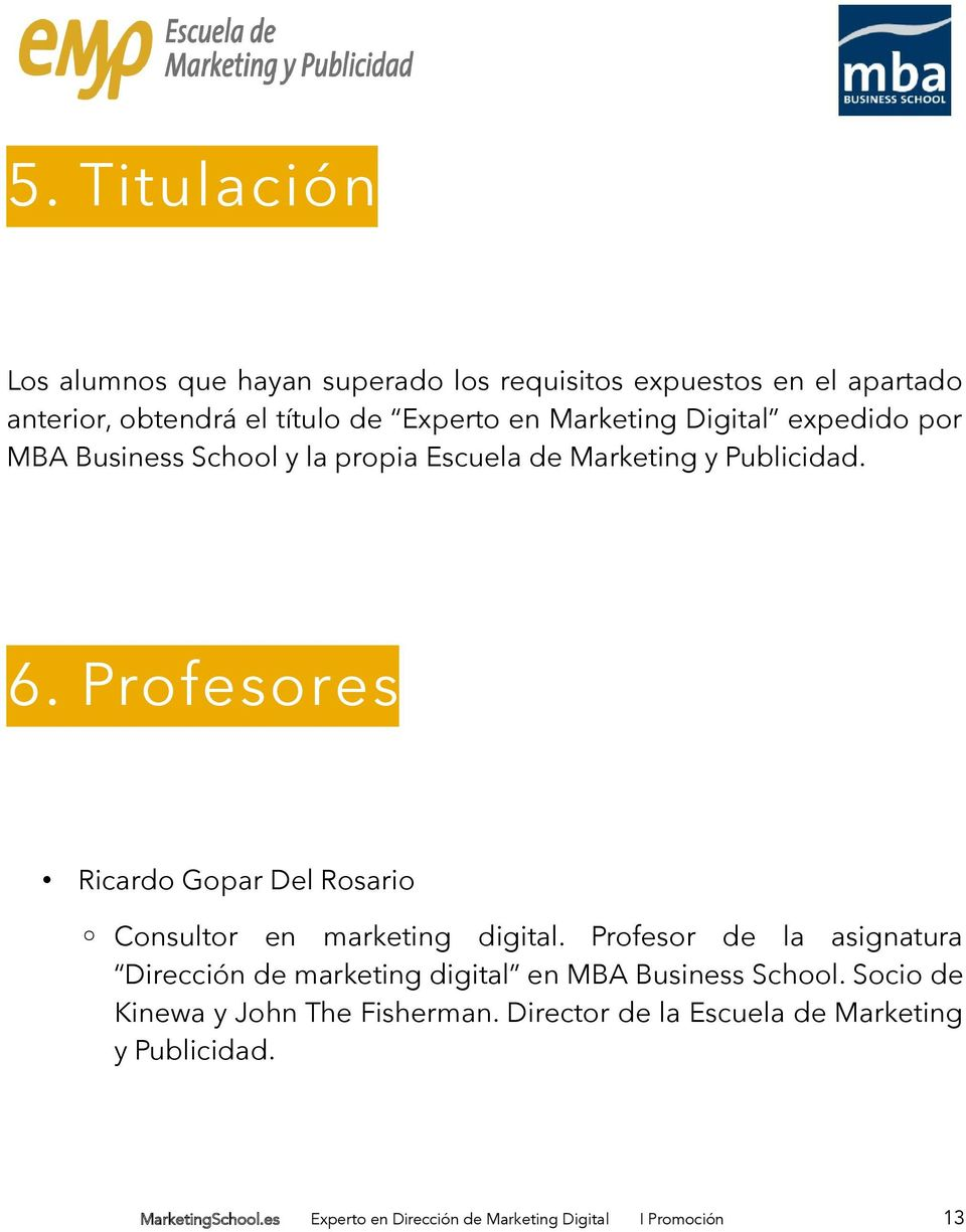 Profesores Ricardo Gopar Del Rosario Consultor en marketing digital.