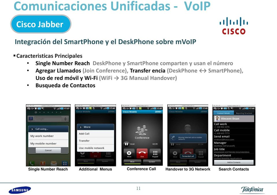 Llamados (Join Conference), Transfer encia (DeskPhone SmartPhone), Uso de red móvil y Wi-Fi (WiFi 3G Manual
