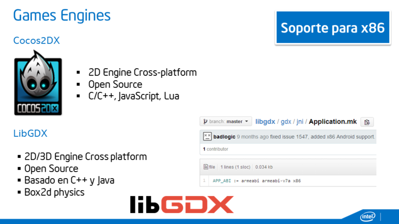 LibGDX Generar binarios para x86 http://rickosborne.org/blog/2013/07/build-and-use-libgdx-for-x86-in-android-studio/ http://gamerald.