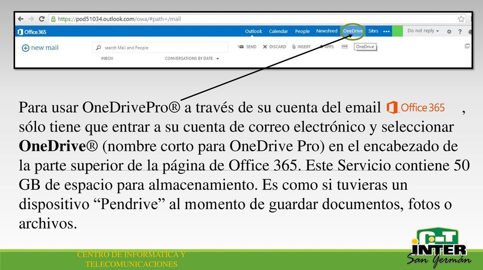parte superior de la página de Office 365.