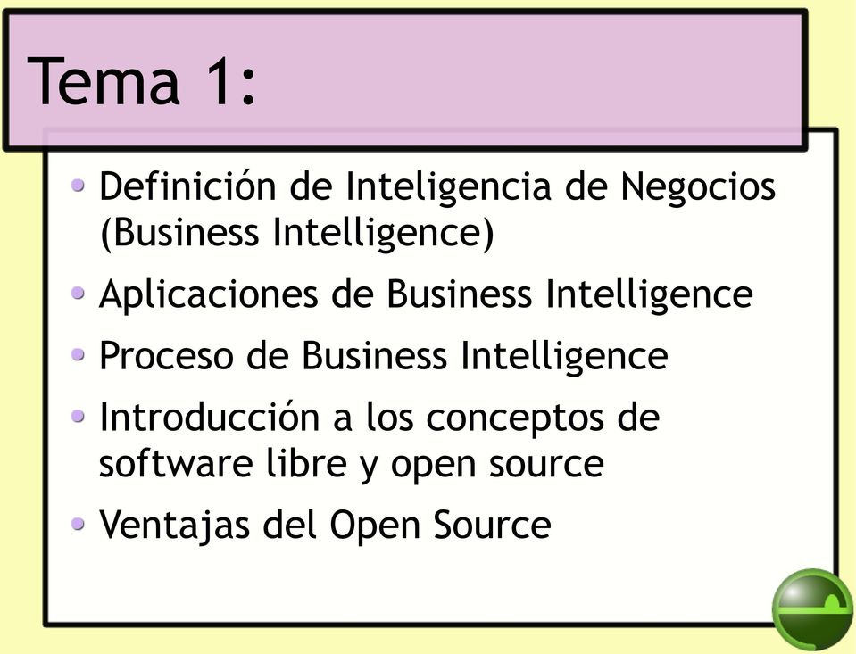 Proceso de Business Intelligence Introducción a los