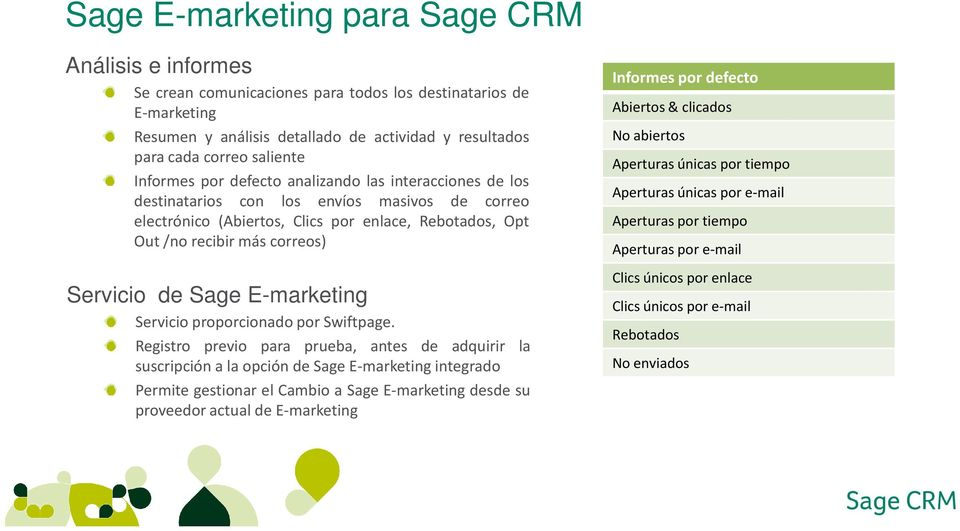 Sage E-marketing Servicio proporcionado por Swiftpage.