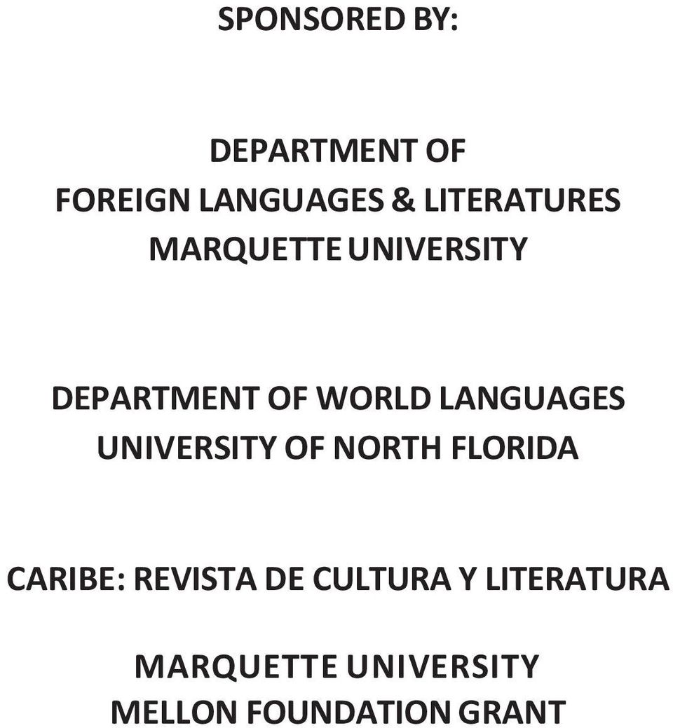 LANGUAGES UNIVERSITY OF NORTH FLORIDA CARIBE: REVISTA
