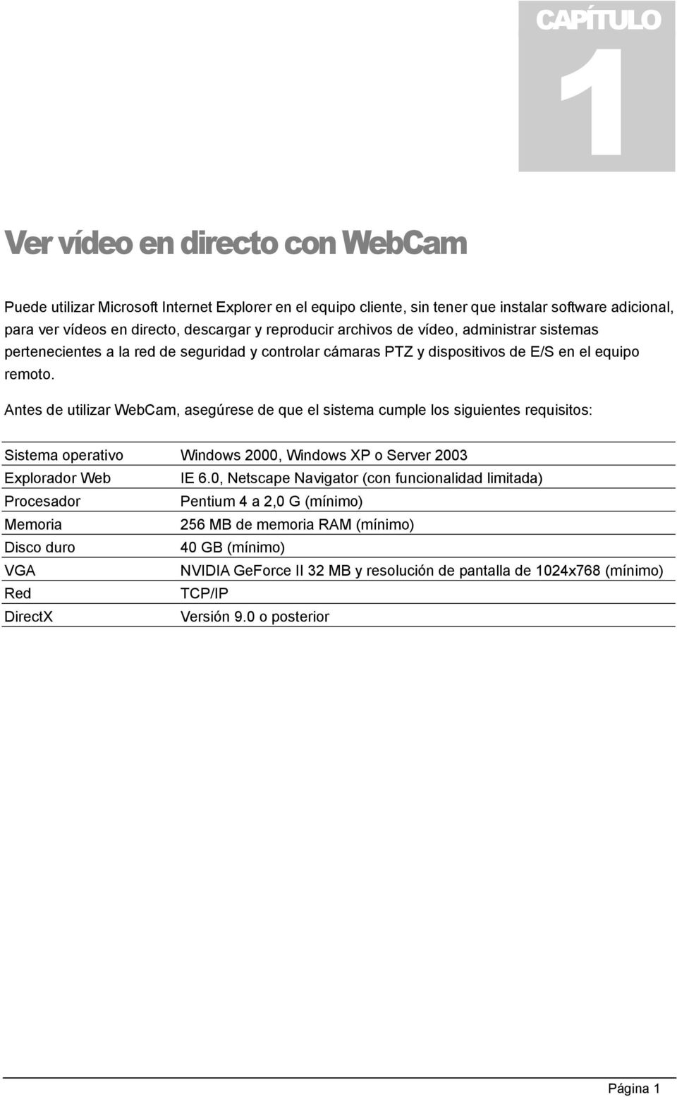 Antes de utilizar WebCam, asegúrese de que el sistema cumple los siguientes requisitos: Sistema operativo Windows 2000, Windows XP o Server 2003 Explorador Web IE 6.