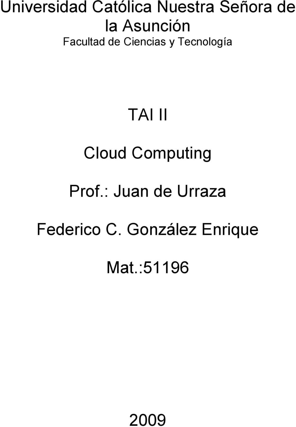 TAI II Cloud Computing Prof.
