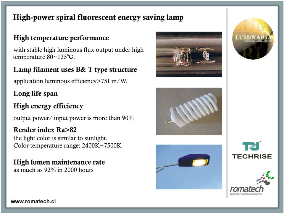 Lamp filament uses B& T type structure application luminous efficiency>75lm/w.
