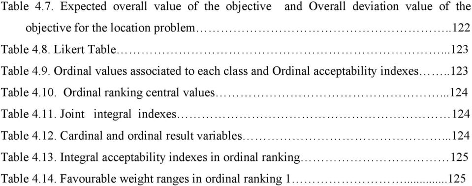 Ordinal raning cenral values...124 Table 4.11. Join inegral indexes 124 Table 4.12. Cardinal and ordinal resul variables.