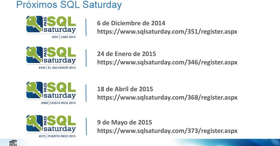 com/346/register.aspx 18 de Abril de 2015 https://www.sqlsaturday.