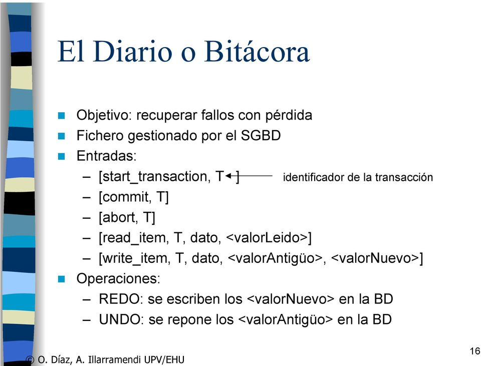 [read_item, T, dato, <valorleido>] [write_item, T, dato, <valorantigüo>, <valornuevo>]
