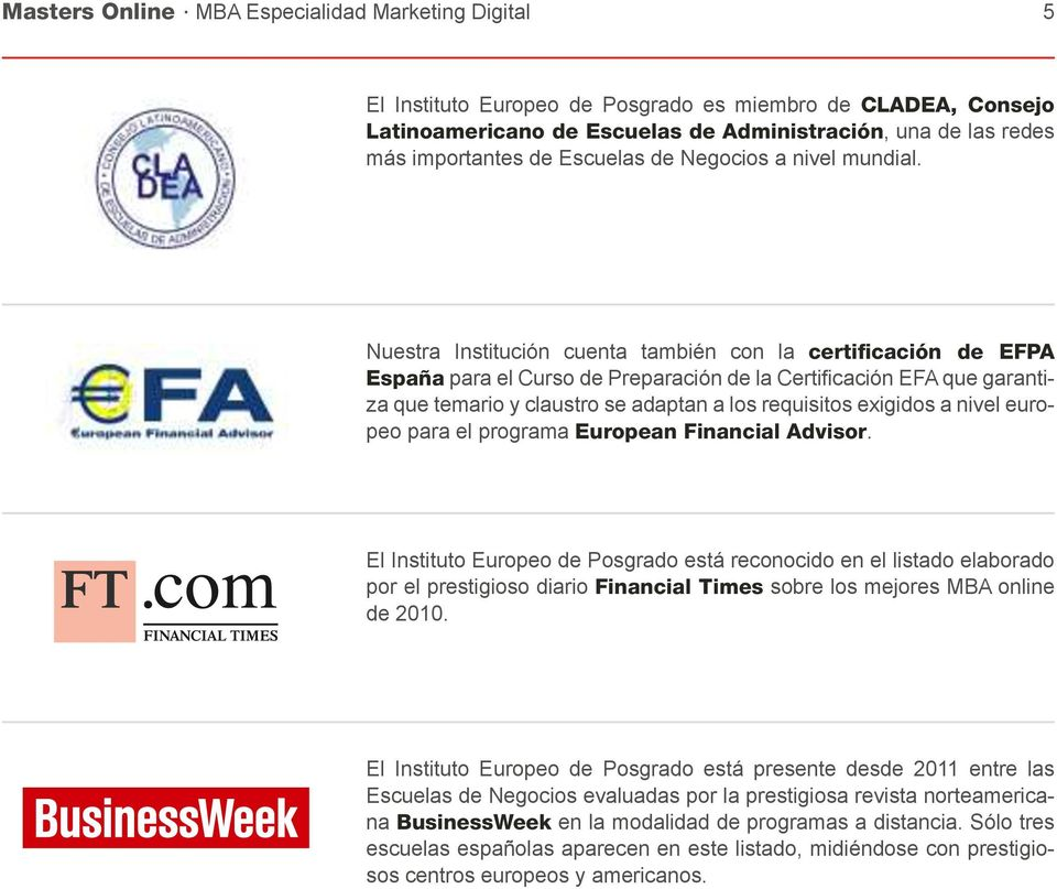 nivel europeo para el programa European Financial Advisor.